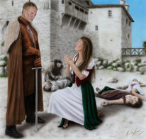 Tod, Acrylmalerei, Frau, Mädchen