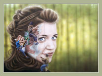 Mädchen, Frau, Malen, Aquarellmalerei