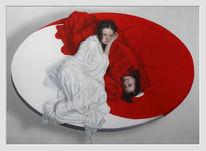 Weibsbild, Hausfrau, Weiß, Rot