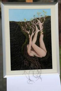 Fruchtbarkeit, Keim, Acrylmalerei, Weibsbild