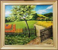 Himmel, Garten, Zaun, Malerei