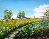 Malerei, Gras, Weide, Landschaft