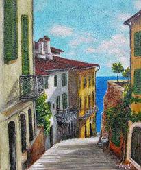 Malerei, Meer, Haus, Landschaft