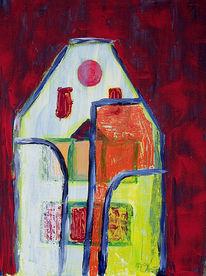 Acrylmalerei, Gebäude, Malerei, Abstrakt