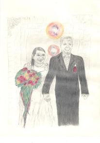 Pastellmalerei, Hochzeit, Zeichnung, Bleistiftzeichnung