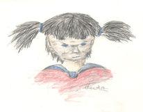Portrait, Buntstiftzeichnung, Mädchen, Zeichnung