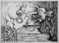 Apokalypse, Premonition, Zeichnung, Surreal