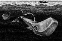 Tiere, Zeichnung, Wal, Surreal