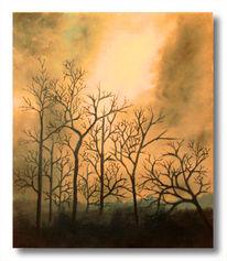 Winter, Landschaft, Dämmerung, Malerei