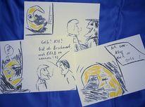 Skizze, Zeichnung, Gelb, Zeichnungen
