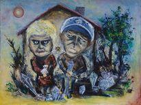 Haus, Frau, Mann, Malerei