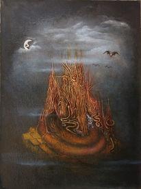 Nebel, Natterhorn, Mond, Malerei