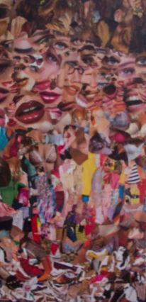 Donna, Collage, Frau, Dame