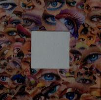 Spiegel, Augen, Schminke, Collage