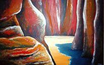 Berge, Malerei, Felsen, Schlucht