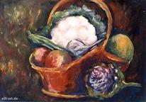 Obst gemüse, Korb, Stillleben, Malerei
