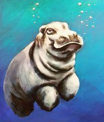 Tiere, Wildness, Flusspferd, Acrylmalerei