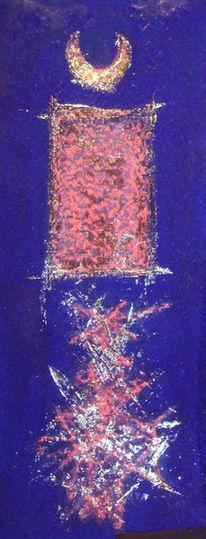 Abstrakt, Malerei, Rot, Blau