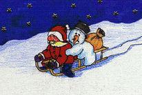 Schlitten, Figural, Malerei, Weihnachtsmann