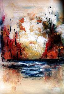 Tümpel, Malerei, Weiher, Teich