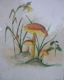 Aquarellmalerei, Pilze, Aquarell
