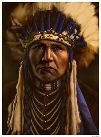 Häuptling, Feder, Indianer, Western