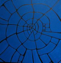Surreal, Malerei, Grundriss, Blau
