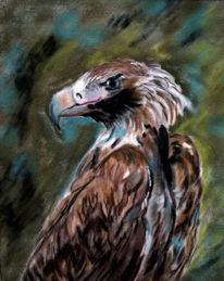 Malerei, Vogel, Tiere, Figural