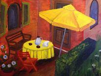 Malerei, Terrasse, Acrylmalerei, Sommertag