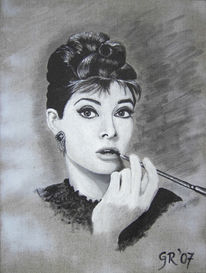 Portrait, Figural, Malerei, Audrey hepburn