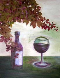 Malerei, Stillleben, Rotwein
