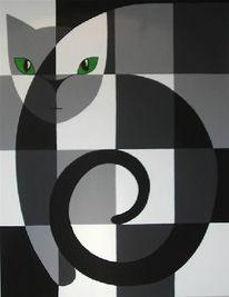 Katze, Malerei, Schwarz weiß, Tiere
