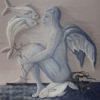 Surreal, Malerei, Neid, Blau