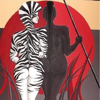 Surreal, Malerei, Zebra, Rot