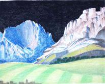 Zeichnung, Berge, Pastellmalerei, Zeichnungen