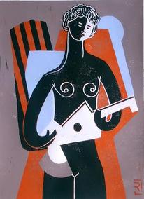 Grafik, Menschen, Frau, Gitarre