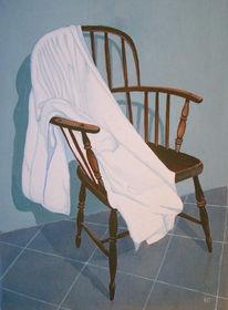Malerei, Stillleben, Stuhl, Handtuch