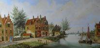 Gracht, Landschaft, Wasser, Gemälde