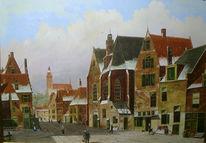 Kirche, Landschaft, Holländische malerei, Stadt