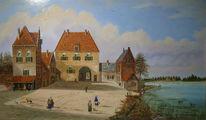 Häuser, Menschen, Ölmalerei, Landschaft