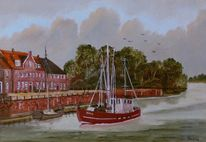 Zeitgenössischer maler, Fischkutter, Landschaft, Ölmalerei