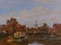 Zeitgenössische malerei, Mühle, Wolken, Holländische malerei