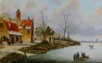 Holländische malerei, Kirche, Landschaft, Ölmalerei