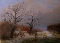 Zeitgenössischer maler, Holländische malerei, Kirche, Gracht