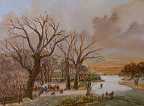 Landschaft, Baum, Winter, Zeitgenössisch