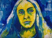 Acrylmalerei, Blau, Frau, Gelb