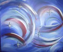 Malerei, Stern, Rot, Blau