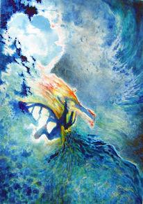 Angst, Tief, Wasser, Malerei