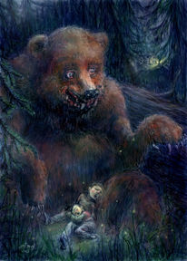 Wald, Bruder, Digital, Grizzly