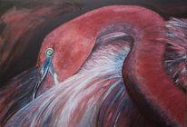 Malerei, Figural, Flamingo